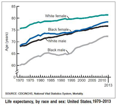 Life Expectancy by Race and Gender, 1970-2013